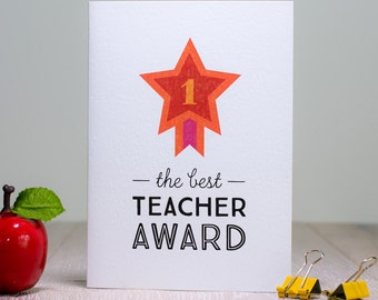 Best Teacher Card, Thankyou Teacher Card, No 1 Teacher Award Greeting Card, Retro Scandinavian Star Award, End of Term Year Goodbye Card