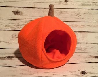 Hedgehog Halloween Pumpkin Guinea Pig Plush Fleece Hidey Hut House