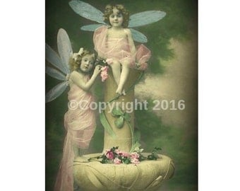 Fairy Postcard Children Instant Download Cabniet Card Photograph  Art Nouveau  Altered Art Image Vintage CDV Cabniet Digital