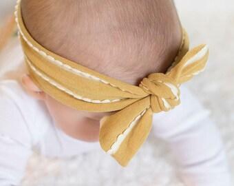 Mustard top knot headband, gray top knot