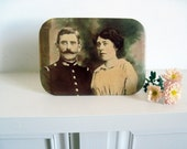 Sepia Photo Easel Stand of French Couple Photo Colored and Printed on Metal