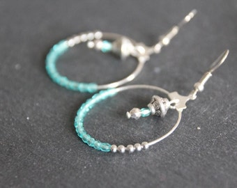 Ethnic hoop earrings, boho,silvered and turquoise, charms, czech glass beads