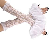 bridal white lace fingerless gloves, bridal white gloves, bridesmaid gloves, gloves in wedding style, women's lace fingerless gloves 0060
