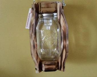 Outdoor Lantern Treated Wood Coach Style Mason Jar Solar Light Clear