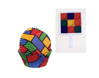 Lego-look cupcake picks with 12 Color Block Baking Cups