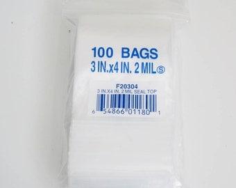 100 3x4 Resealable Poly Plastic ZipLock Bag Ziploc 2 MIL Clear
