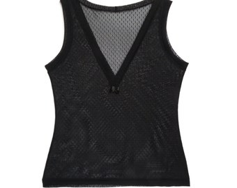 Black camisole - black lace - Black dot mesh lace camisole without sleeve and V neck