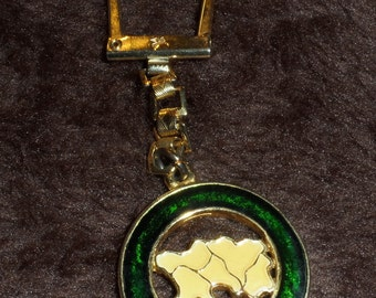 Vintage Souvenir Keyring from Jersey Metal Squeeze Mechanism Pegasus Mark