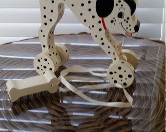 Dalmatian Wooden Pull Toy
