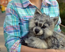 CUSTOM ORDER! Poseable wolf cub! 100% handmade! OOAK Dolls! Poseable toy! Stuffed wolf!