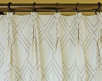 custom drapes pinch pleat drapes linencotton geometric curtains drapery panels