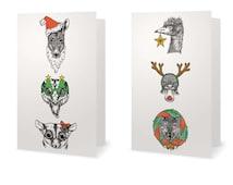 Pack of 2 Christmas cards, Australian, Animal Greeting Cards. Emu, Platypus, Glider, Wombat, Blue Tongue, Kangaroo, Art Cards.