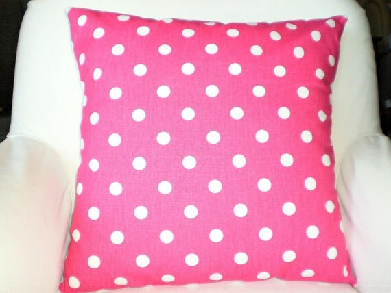 Pink Polka Dot Pillow Covers Decorative by PillowCushionCovers