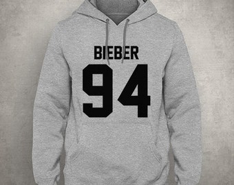 Bieber 94 - For fangirl & fanboy - Gray/White Unisex Hoodie - HOODIE-120