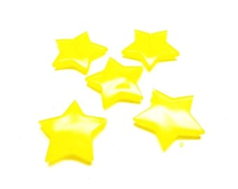 Set of 10 yellow stars pearls, acrylic, 27.5 * 5 mm
