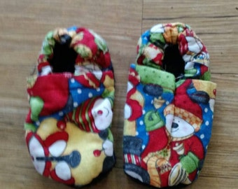 Christmas Snowman Baby Shoes Size 0-6 Months