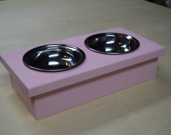 Wooden Cat Bowl Feeding Station With Bowls; Cat Bowl Holder; Small Dog Feeding Station; Rustic Pink Cat Feeder