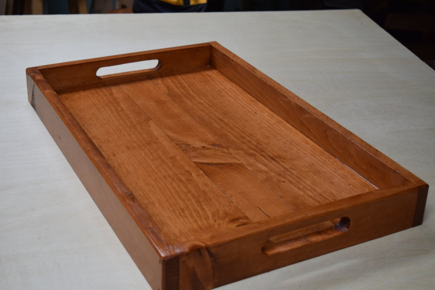 Wooden serving tray ottoman breakfast
