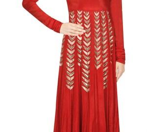 Red colour anarkali suit