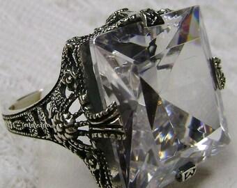 925 Art Deco gemstone Victorian Filigree ring size 6.5