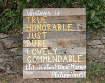 Rustic Modern Decor- Best Home Gifts- Old Wood Signs-Unique Gifts Home Decor- Philippians Chapter 4- Rustic Home Decor Ideas - SKU RWS1004WI