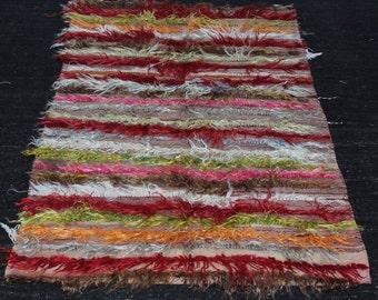 Shaggy tülü rug,Multi color Angora rug,Turkish tülü,Anatolian tülü rug,Angora tülü,Angora rug,Boho Angora tülü rug,60 x 37 inch,150 x 94  cm
