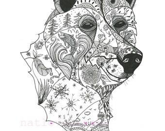 Bear ink drawing/ Giclee fine art print/ A3 black and white print