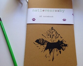 Fox A5 notebook/ kraft notebook lino print