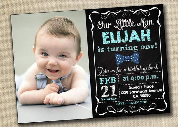 Baby Boy First Birthday Invitation baby boy 1st Birthday