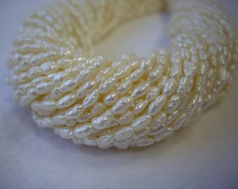 Freshwater Rice Pearls (UNSTRUNG) 3x2.5mm
