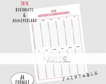 INSTANT DOWNLOAD Birthdays & anniversaries planner ENGLISH