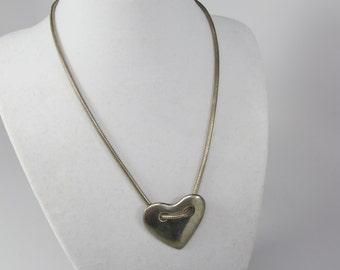 Vintage Robert Rose Jewelry, Heart NECKLACE, Vintage necklace, signed necklace, silver chain with pendant