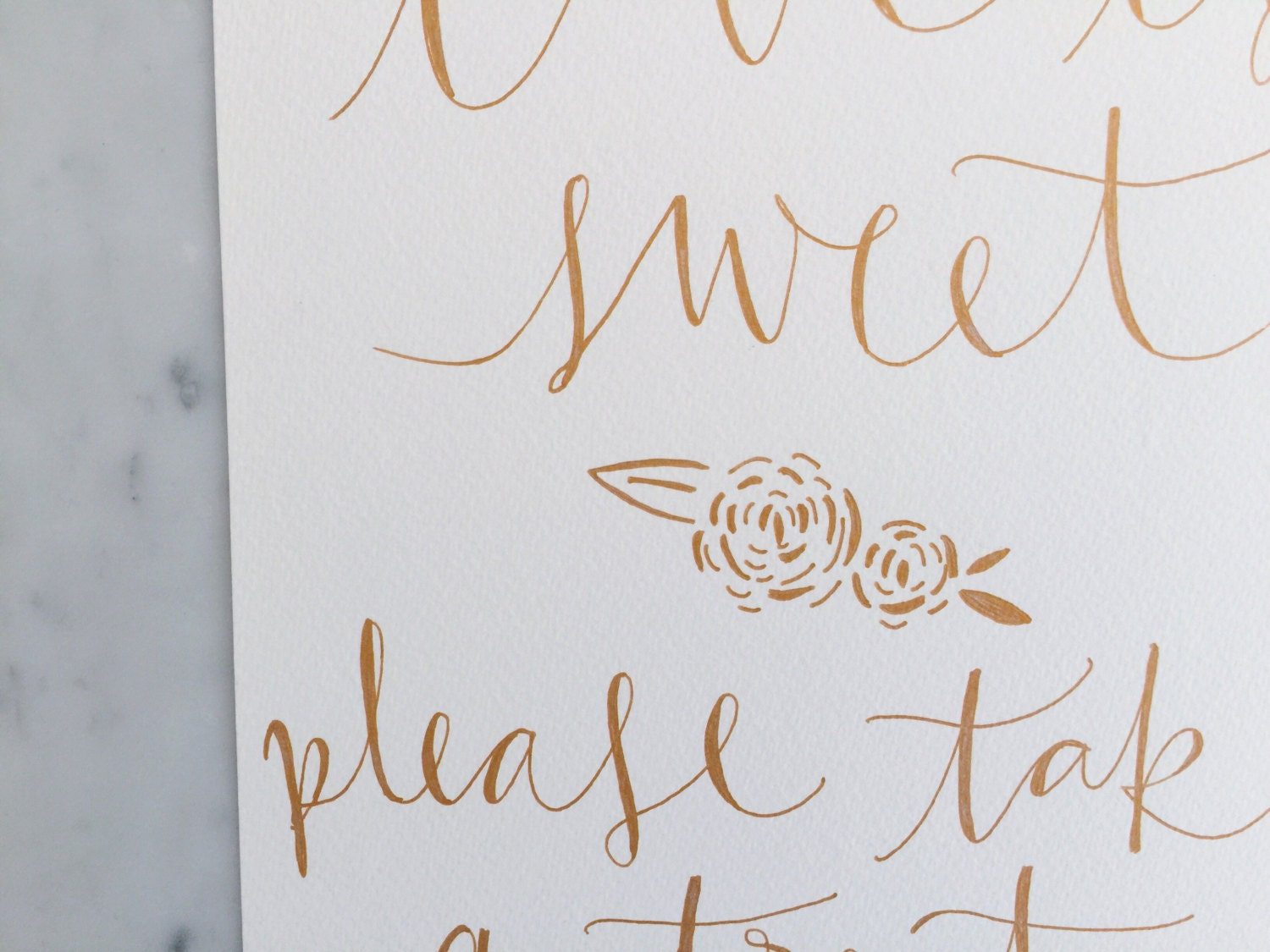 Custom A4 Hand Drawn Rose Gold Lettering Sign Love Is Sweet
