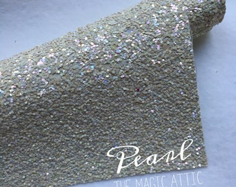 Frosted Glitter Fabric - Pearl