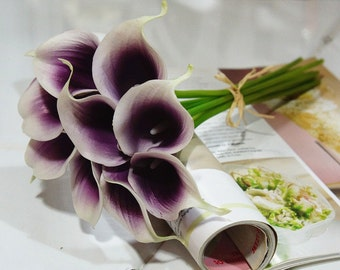 18 stems picasso calla lily bouquet for bridal bridesmaids bouquet fake flowers