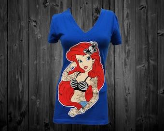 Tattooed Princess Arial Blue V-neck T-shirt