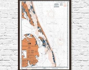 NC Art, Currituck NC, Currituck Map Print, Coastal Print, Art, Beach Cottage Decor, Office Decor, NC Map Art