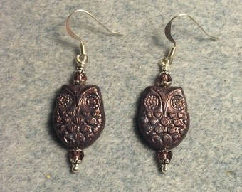 Purple bronze Czech glass owl bead earrings adorned with purple Chinese crystal beads.
