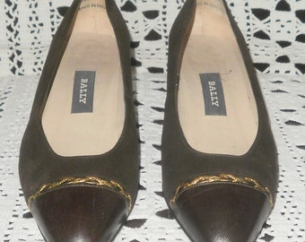 Vintage 1980s Brown Low Heel Court Shoes by Bally Size 5.5