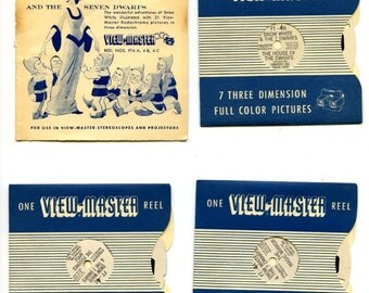 "50's era view-master reels (3) ""Snow White"". Booklet and discs. No jacket"