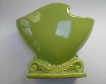 Mid Century Planter Vase California Pottery, Lime Chartreuse Green, Vintage