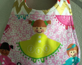 """Bib for baby or toddler girl, Michael Miller fabric, """"Dollies"""", Robert Kaufman chevron, One of a kind, Ready to ship"""