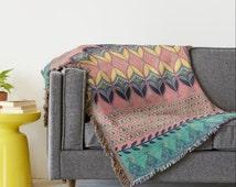 Bohemian Throw blanket, Boho Beach Blanket, Tribal Blanket, Folk Hippie Blanket Wrap, Southwestern blanket, Music festival, Home décor