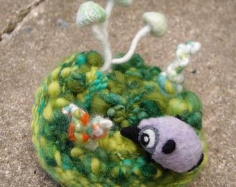 Mini Landscape made from wool, yarn, silk - OOAK handmade decorative soft sculpture