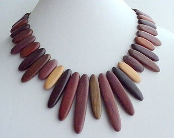 Large Wood Collar Necklace, Dramatic Vintage Handcrafted Hardwoods