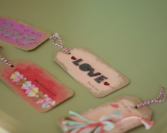 Valentine's Day Tags // LOVE // XOXO // Handmade // Gift Tags // Set of 5