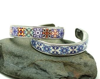 Portuguese tiles bracelet, charm bracelet, bangle bracelet, antique brass bracelet, statement bracelet, OOAK bracelet, anniversary gifts