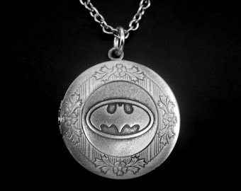 Batman Locket Necklace -Batman Photo Locket -Super Hero Locket Necklace -Wedding Jewelry -Gift for Bridesmaid
