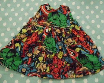 0-3 months dress and headband made from Marvel fabric - hulk, captain america, wolverine