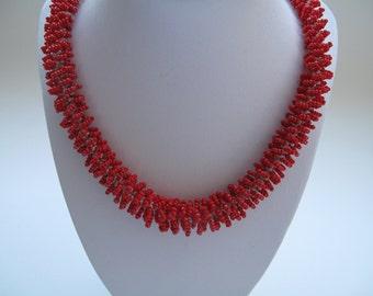 Mediterranean Necklace, Bead Crochet Necklace, Beaded Necklace, Handmade Beadwork Necklace, Peyote Necklace